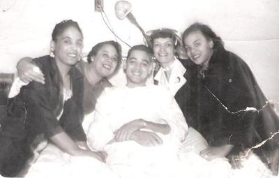 (l-r) Visiting at the hospital, with Cousin Helen, my mother Verna, Fletcher, Aunt Dorothy, my sister Sandra